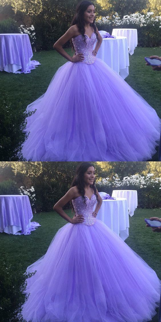 Sparkly Lavender Tulle Ball Gown Quinceanera Dresses