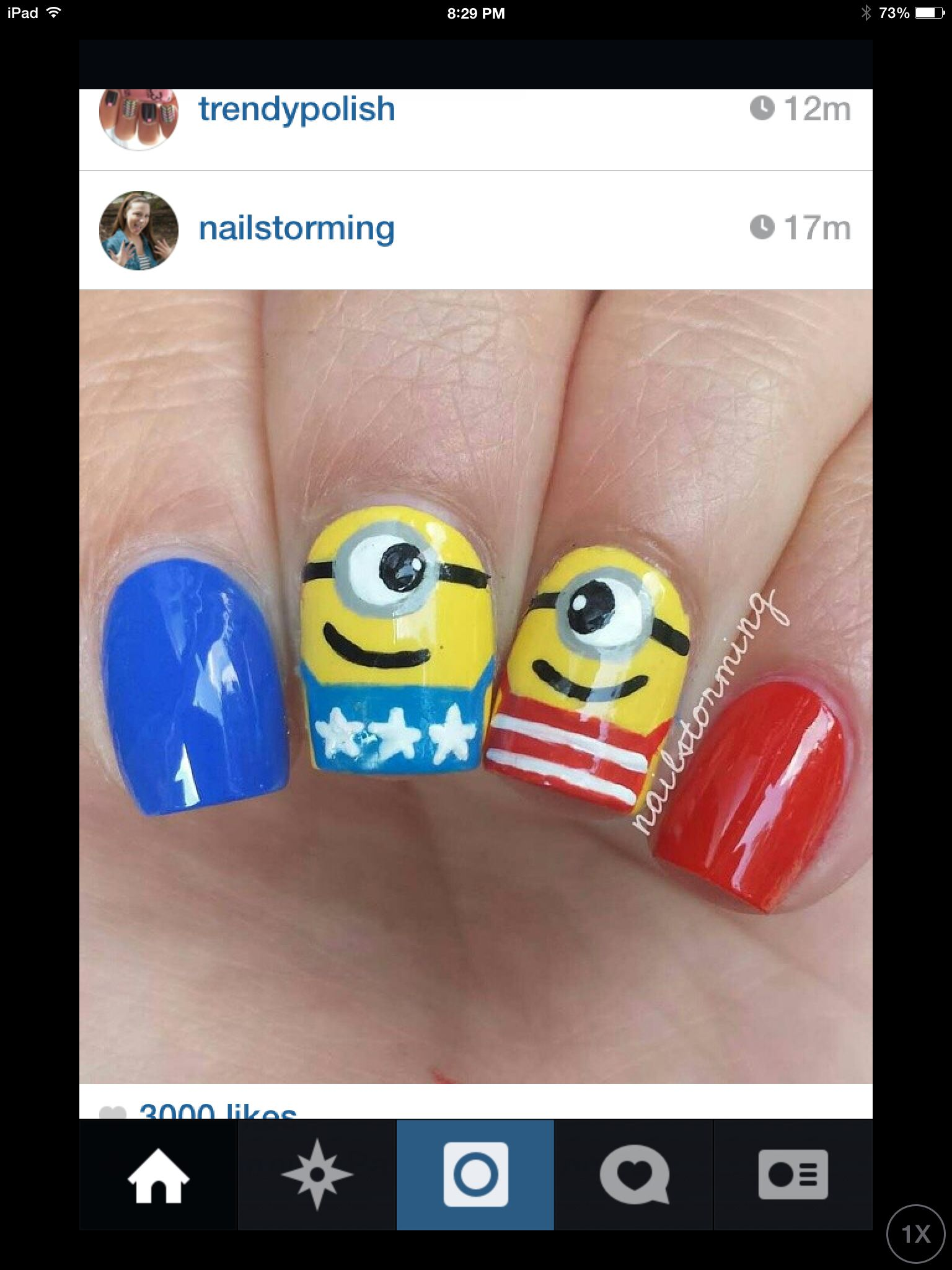 Minion Fourth of July nail art. | nail art | Pinterest | Arte de ...
