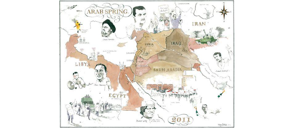 arab spring map george butler