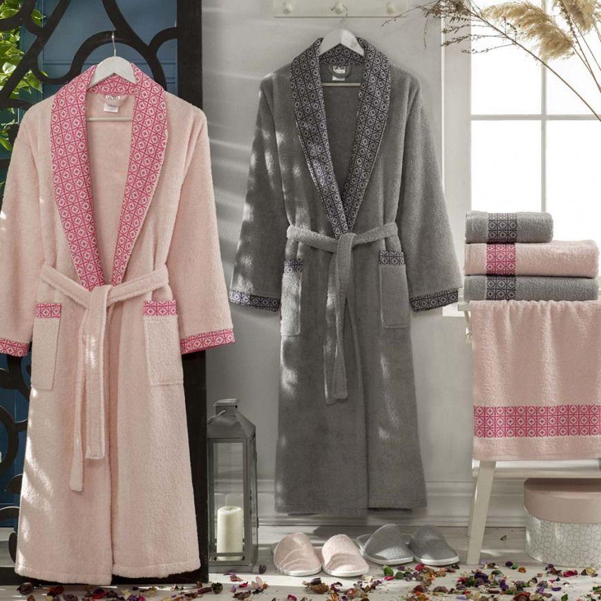 طقم أرواب استحمام عروسين تيتانيم زهري و رصاصي عدد القطع 10 Robe Fashion