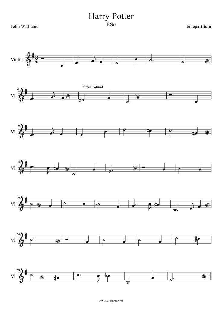 harry potter violin sheet music | Harry Poter by John Williams ...