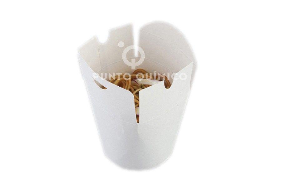 Envase cartón blanco estanco especial para fritos de 1.000 cc, comida caliente, comida fria, nodles, fideos chinos,