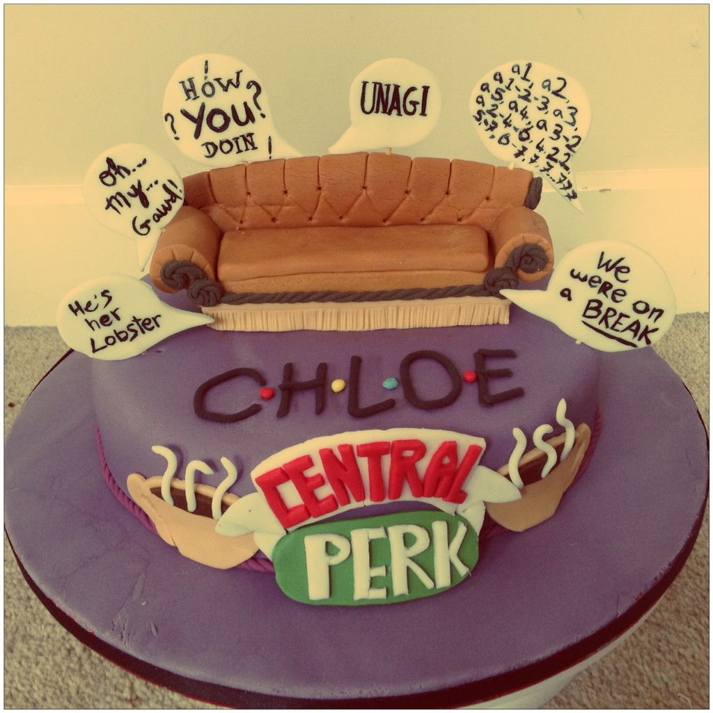 Friends Tv Show Cake With Couch And Quotes Made For My