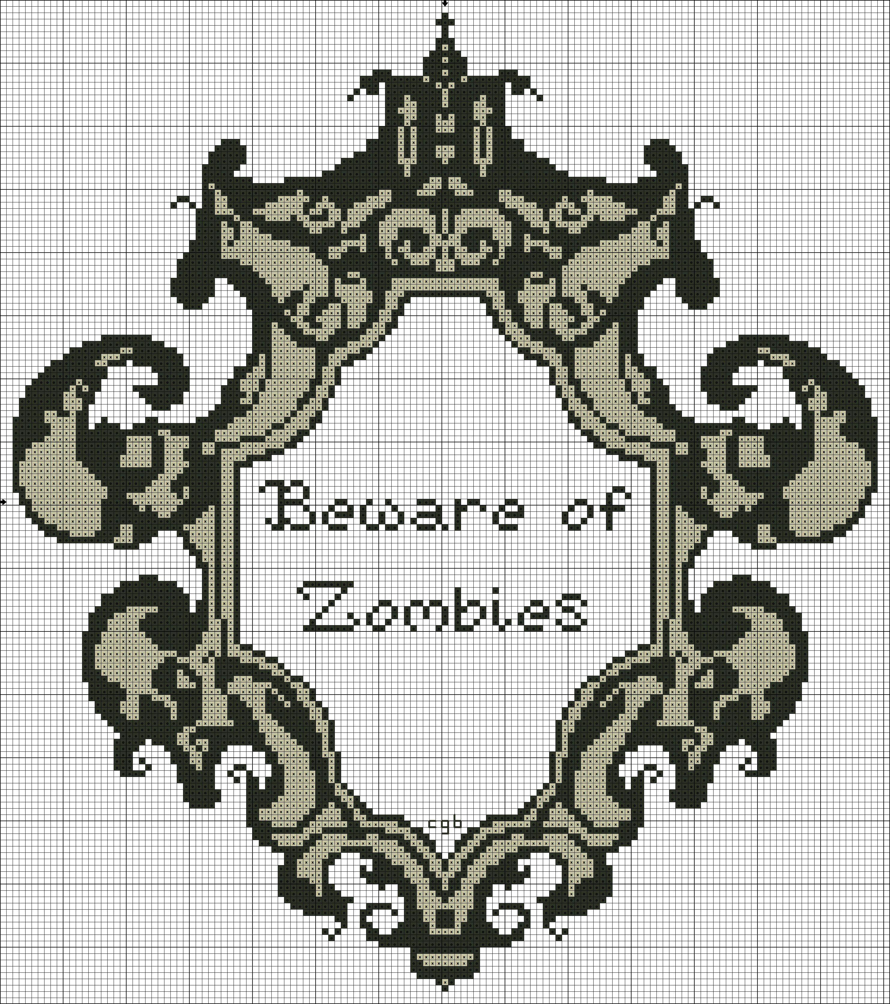 Free Beware of Zombies Cross Stitch Pattern   Coronas de papel ...