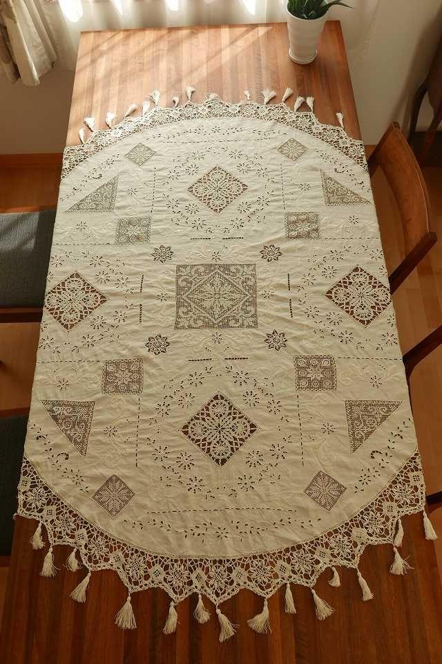 フレンチアンティーク マルチレース楕円テーブルクロス Eggshell French Vintage Linen Lace Tablecloth テーブルクロス フレンチ アンティーク アンティーク