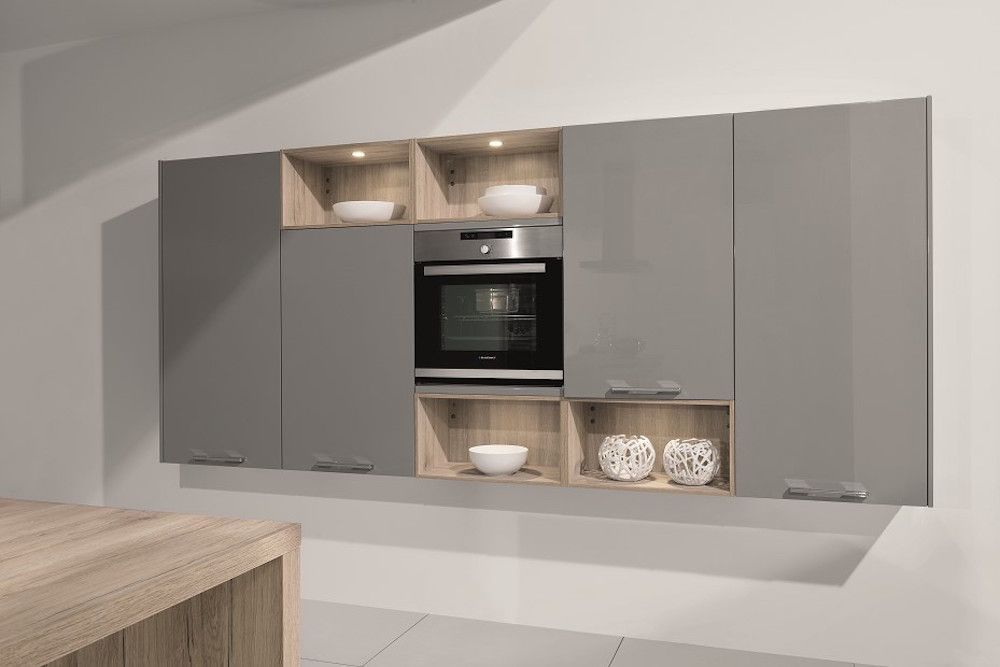 Pearl Grey Gloss Lacquer Kitchen Wall Units Open Plan Kitchen - Grey kitchen wall units