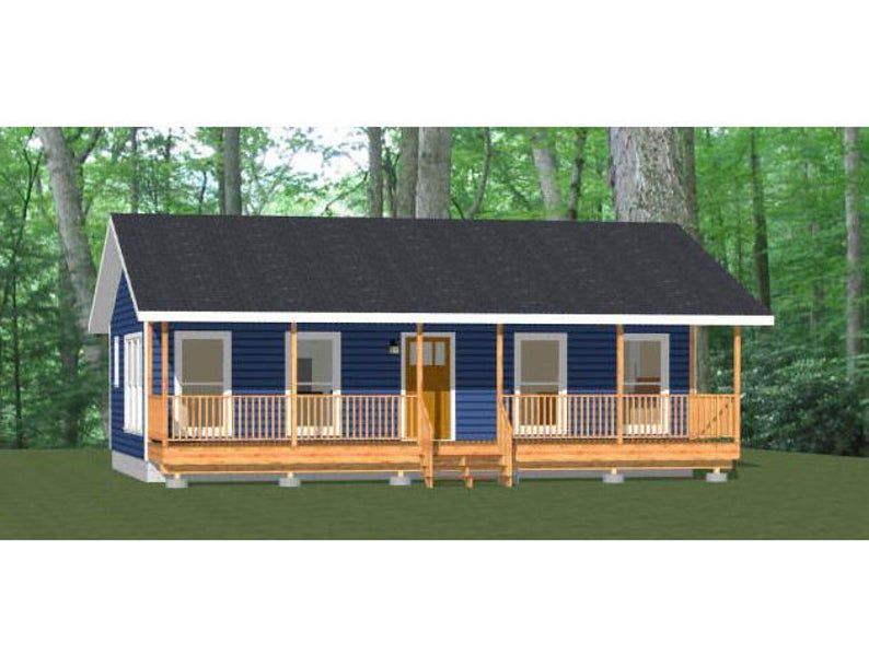 36x22 House 1 Bedroom 1 Bath 790 Sq Ft Pdf Floor Plan Etsy In 2020 House Backyard Guest Houses House Roof