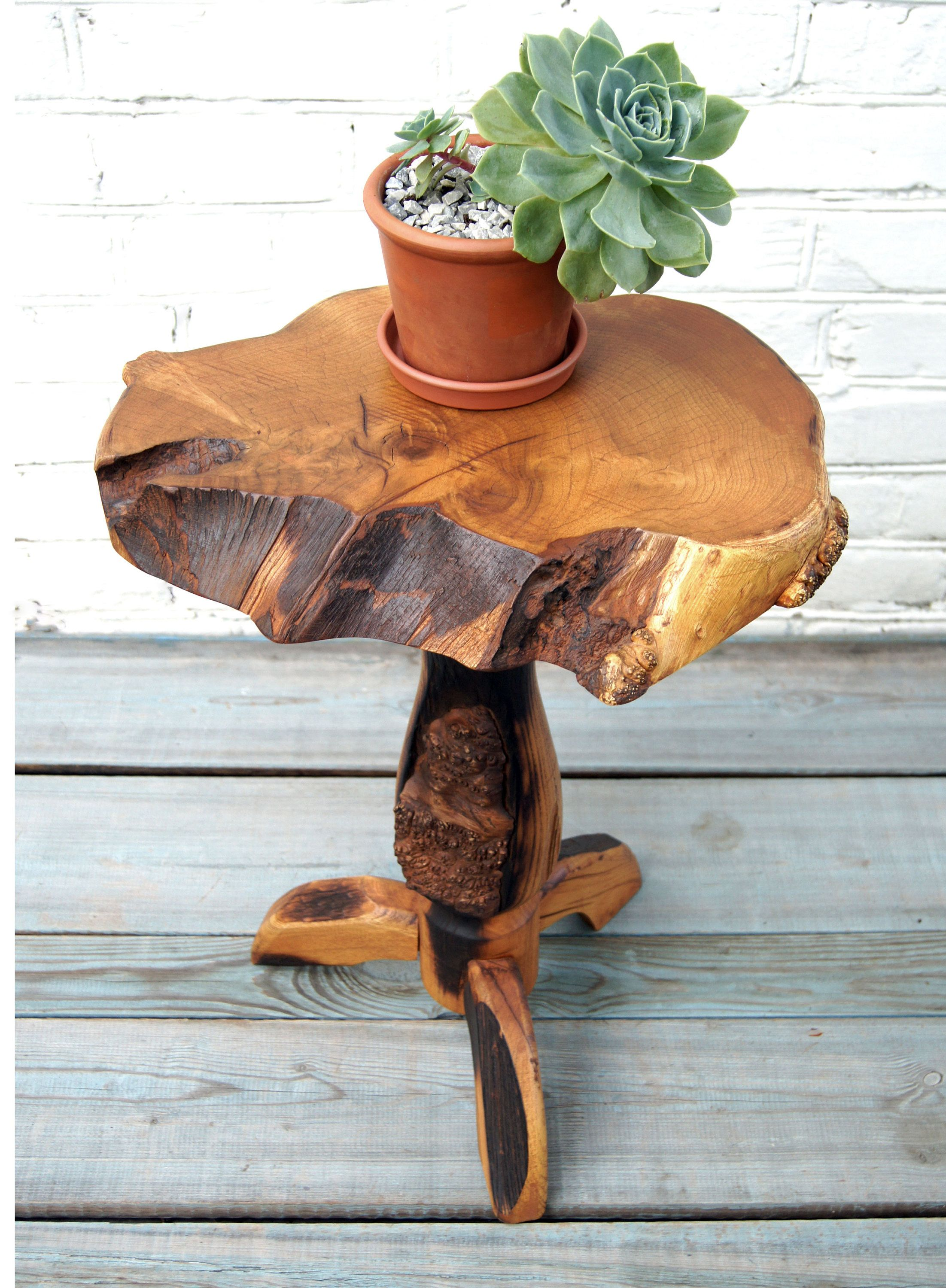 Live Edge Wood Slab Plant Stand Wooden Plant Stand Indoor