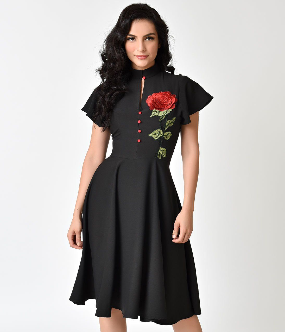 0f4586962e6 Unique Vintage 1950s Black   Embroidered Red Rose Baltimore Swing Dres