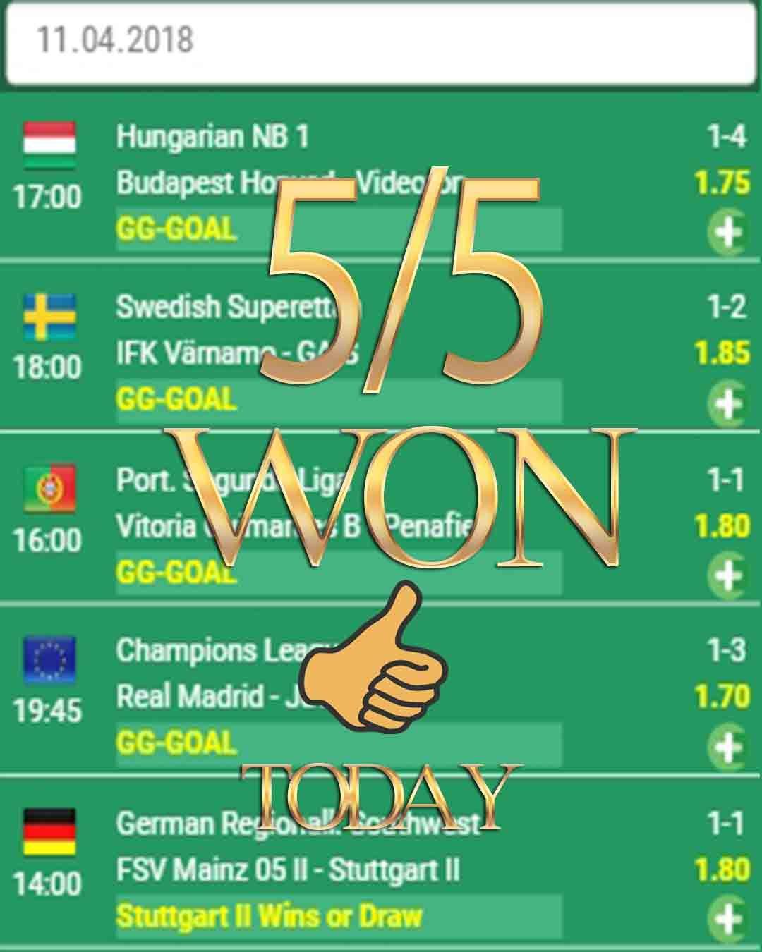 Best vip betting tips 5/5 WON betting tips prediction