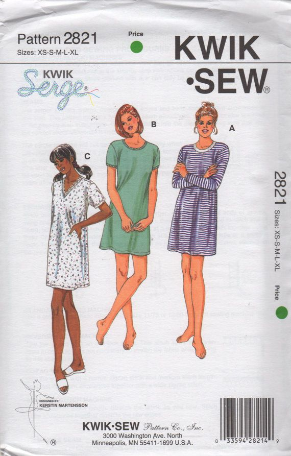 Kwik Sew 2821 Misses Easy Pullover Nightshirt Nightgown Pattern V ...