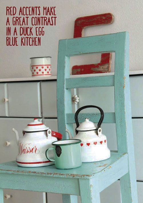 Duck Egg Blue Kitchen Colour Scheme Ideas - Accents of Red