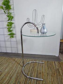 Ronde Glas Tafel.Retro Design Bijzettafel Rond Glazen Tafeltje Glas Tafel 70