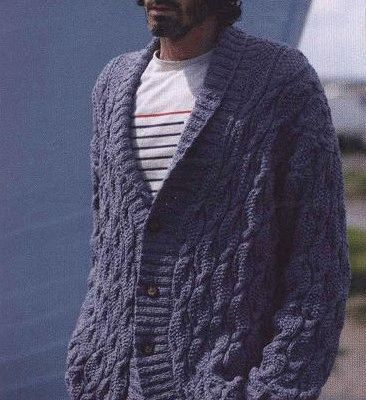 Men\'s cardigan with collar. Free knitting pattern | Free knitting ...