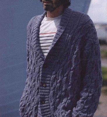 b70a537eb Hermoso cardigan para ellos. Men s cardigan with collar. Free knitting  pattern ...