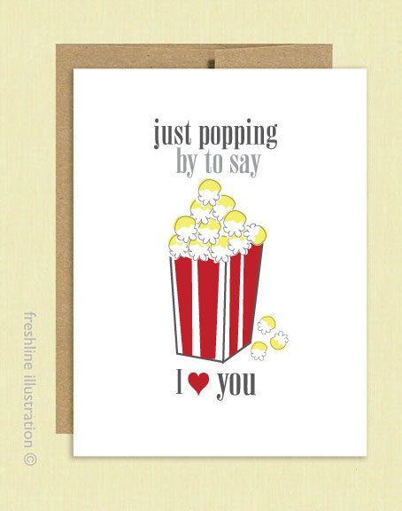 5157e57cc I Love You - Popcorn - Say I Love You - Foodie - Funny Card - Boyfriend -  Girlfriend - Husband - Wife - Valentine's Day Card. $4.00, via Etsy.