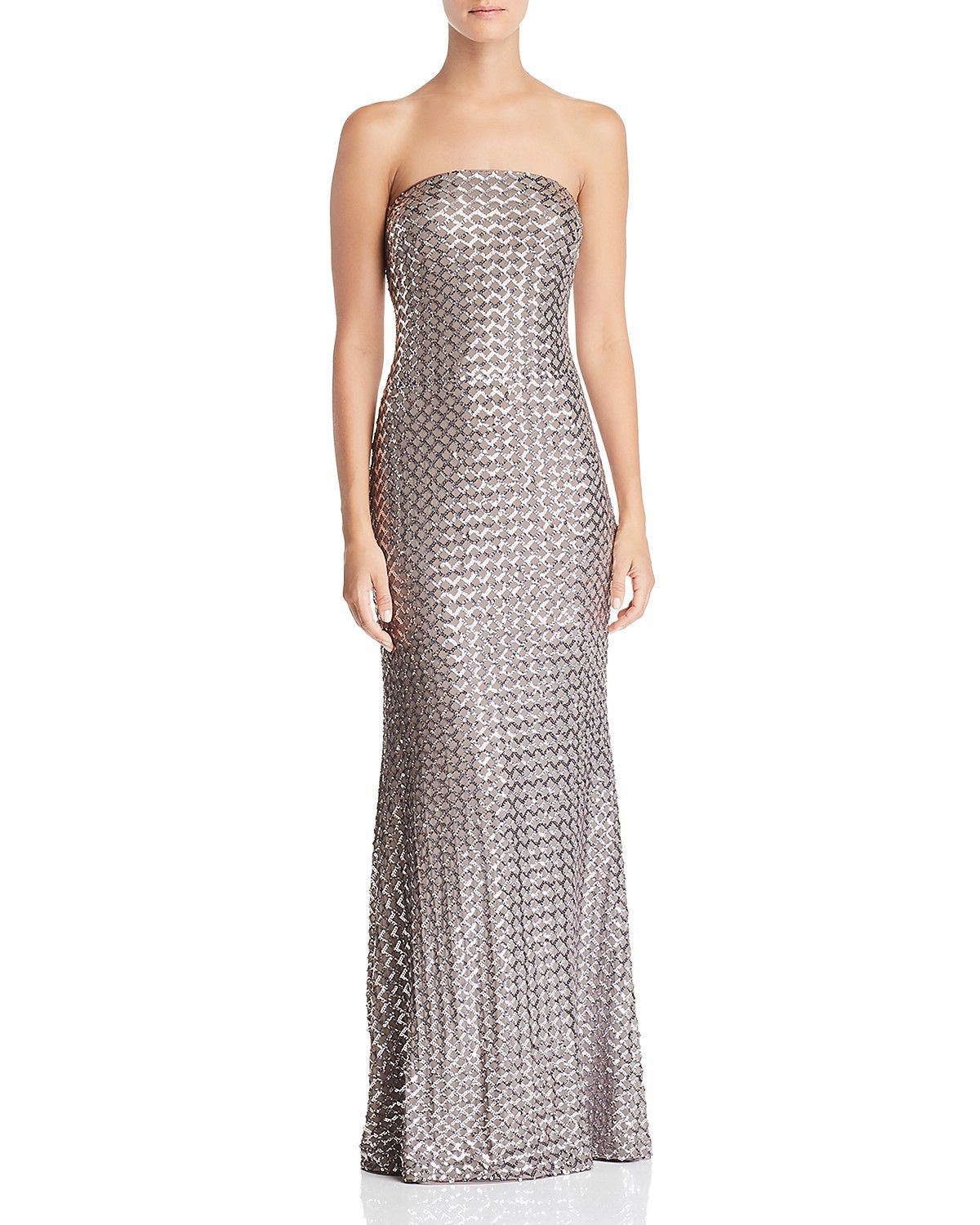 dae339c709a57 Taupe Silver Strapless Sequin Gown | AQUA #taupe #silver #dresses #gowns  #fashion