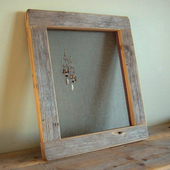 barnwood earring frame from reclaimed weathered wood rustic refined jewelry display - Diy Rustic Picture Frame