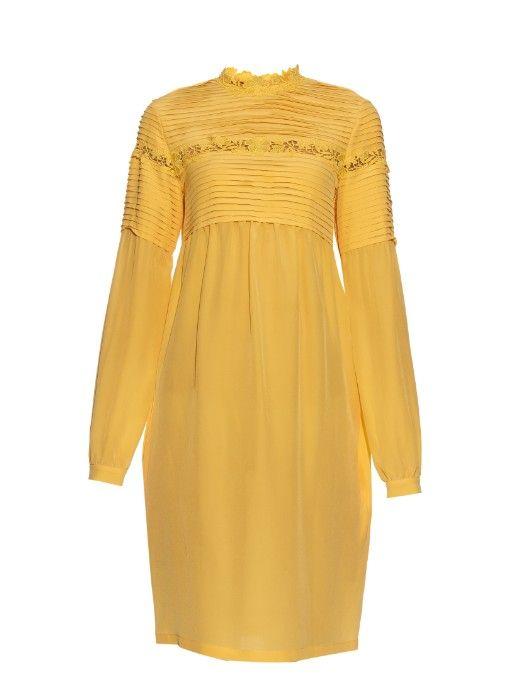 9df413e5a92 ROCHAS Long-Sleeved Macramé-Lace Trim Silk-Crepe Dress. #rochas ...