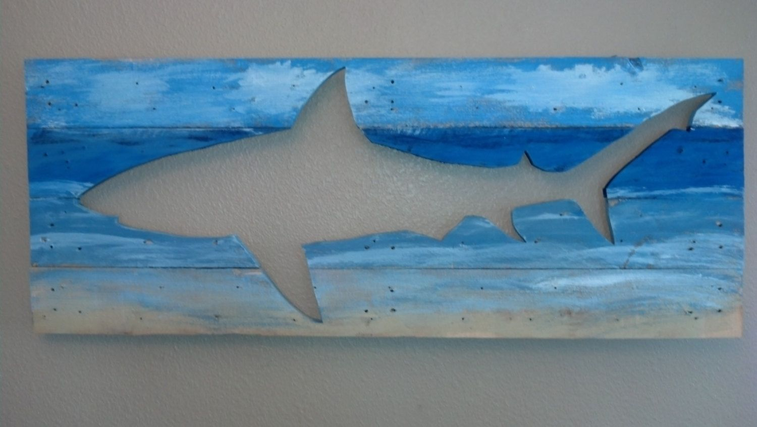 Galapagos shark wood wall art hanging beach by kinportdesigns