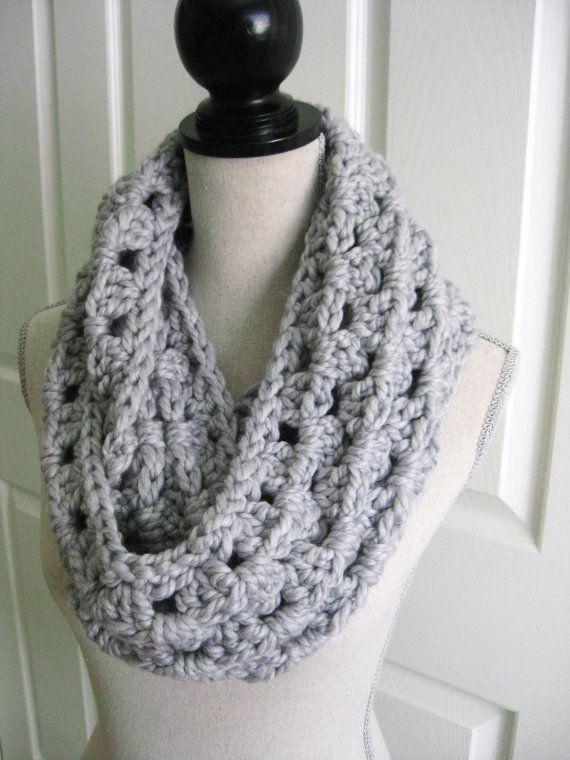 Crocheted Cowl ScarfGreyHandmade by RoseJasmine on Etsy, $29.00