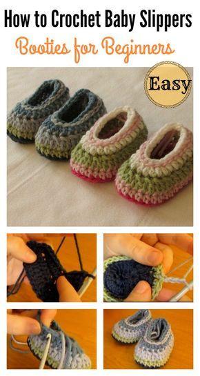 How to Crochet Easy Baby Slippers for Beginners | Pinterest ...