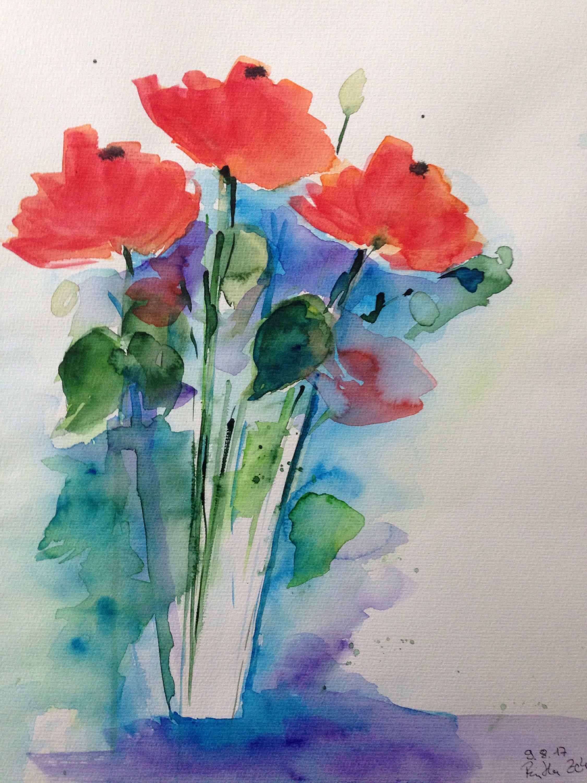 Original Aquarell Aquarellmalerei Mohnblumen Bild Kunst Aquarelle Impression A L Aquarelle Fleurs