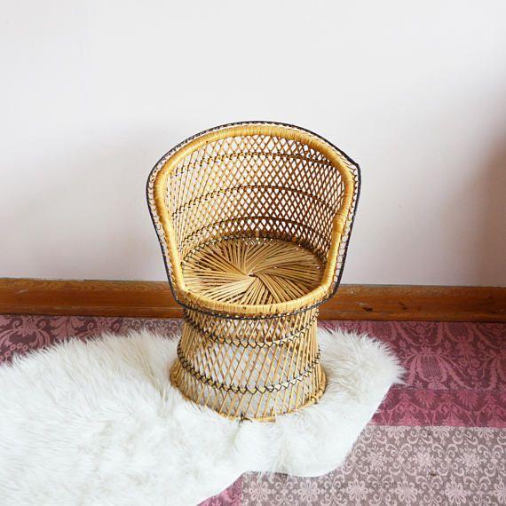 Vintage Child Size Wicker Peacock Chair Boho Kids Decor