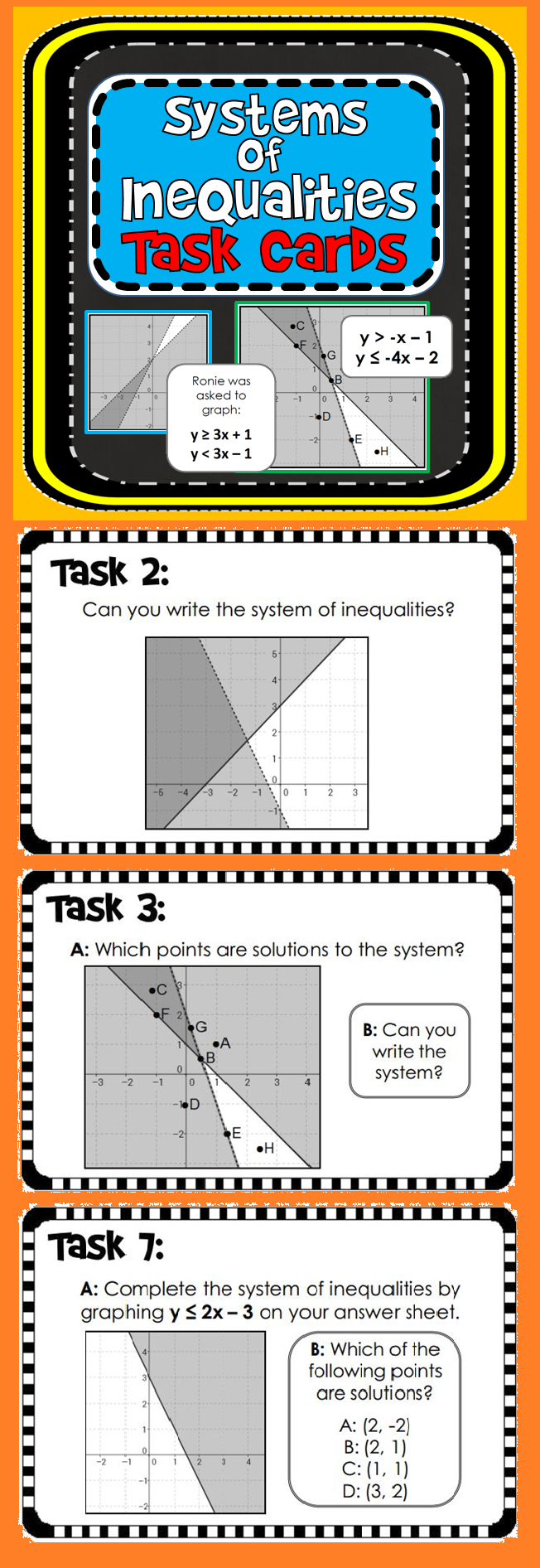 Systems of Inequalities Task Cards Students, Key and Algebra