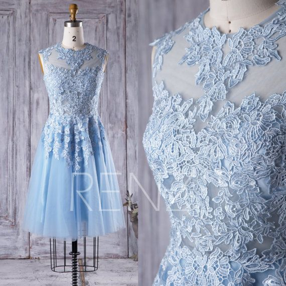 Short Light Blue Wedding Dress