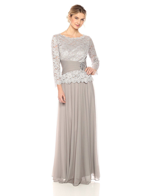Amazon.com: Cachet Women\'s Faux 2 Piece Lace Gown, Platinum, 12 ...