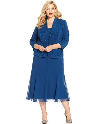 efa4cb1528d Alex Evenings Plus Size Sparkle Jacquard Dress and Jacket