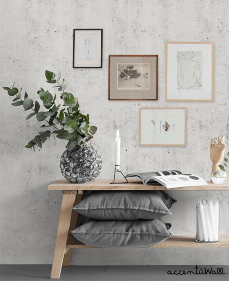 Cement Concrete Light Grey Peel Stick Fabric Wallpaper Etsy Wallpaper Living Room Accent Wall Concrete Wallpaper Wallpaper Living Room