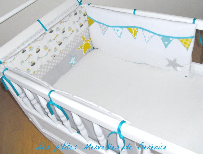 sur commande tour de lit turquoise gris et jaune linge de lit enfants par les p tites. Black Bedroom Furniture Sets. Home Design Ideas
