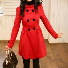 pea popper | Hot Sale Fashion Lady Womens Long Pea Coats Classic ...
