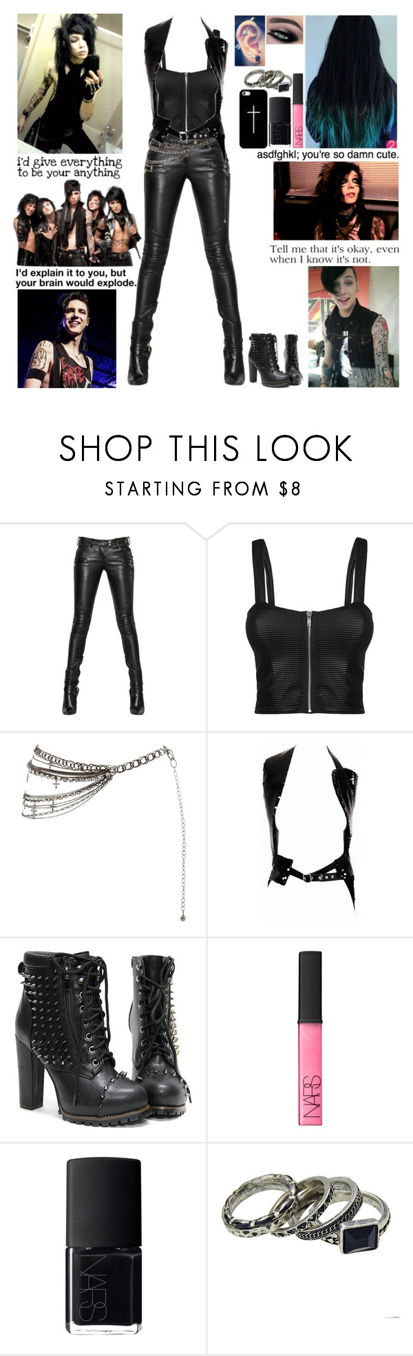 """Imagine in the D: Meeting Andy"" by blueknight ❤ liked on Polyvore featuring moda, Balmain, Cameo Rose, Comme des Garçons, NARS Cosmetics, Casetify e aNYthing"