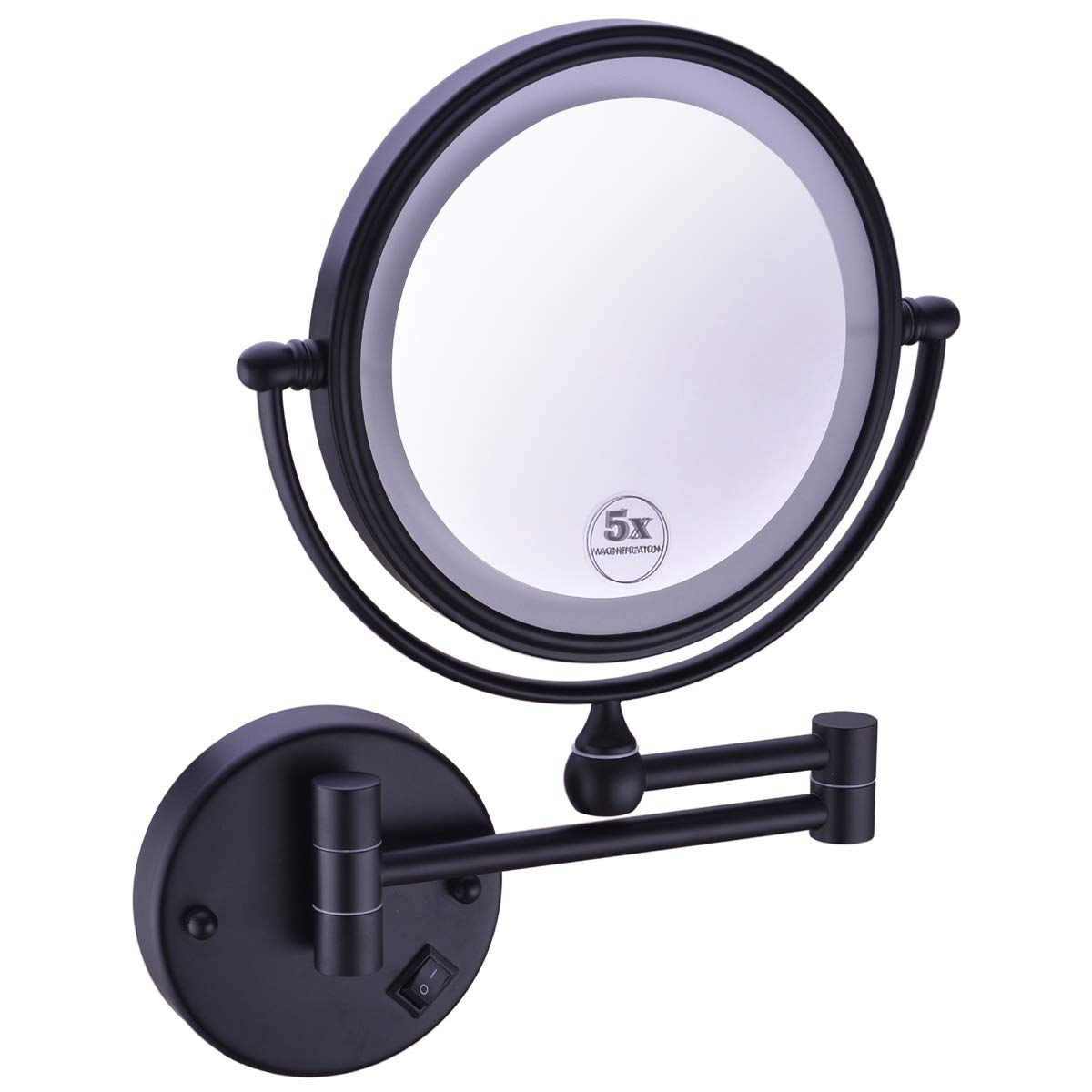 Anpean 8 Inches Led Lighted Hardwired Wall Mount Makeup Mirror With 5x Magnification Matte Wall Mounted Makeup Mirror Makeup Mirror Makeup Mirror With Lights