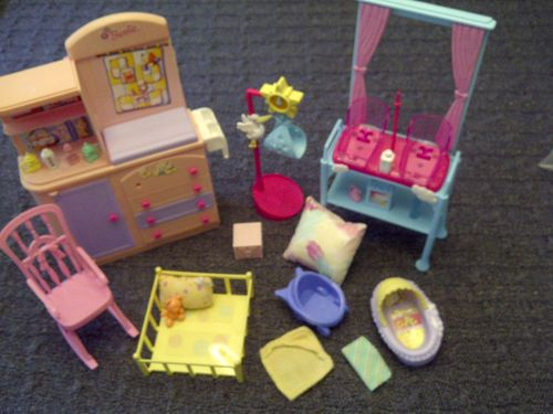 Barbie Doll Twins Playset Nursery Furniture Lot Happy Family Nursey Lot  Scale