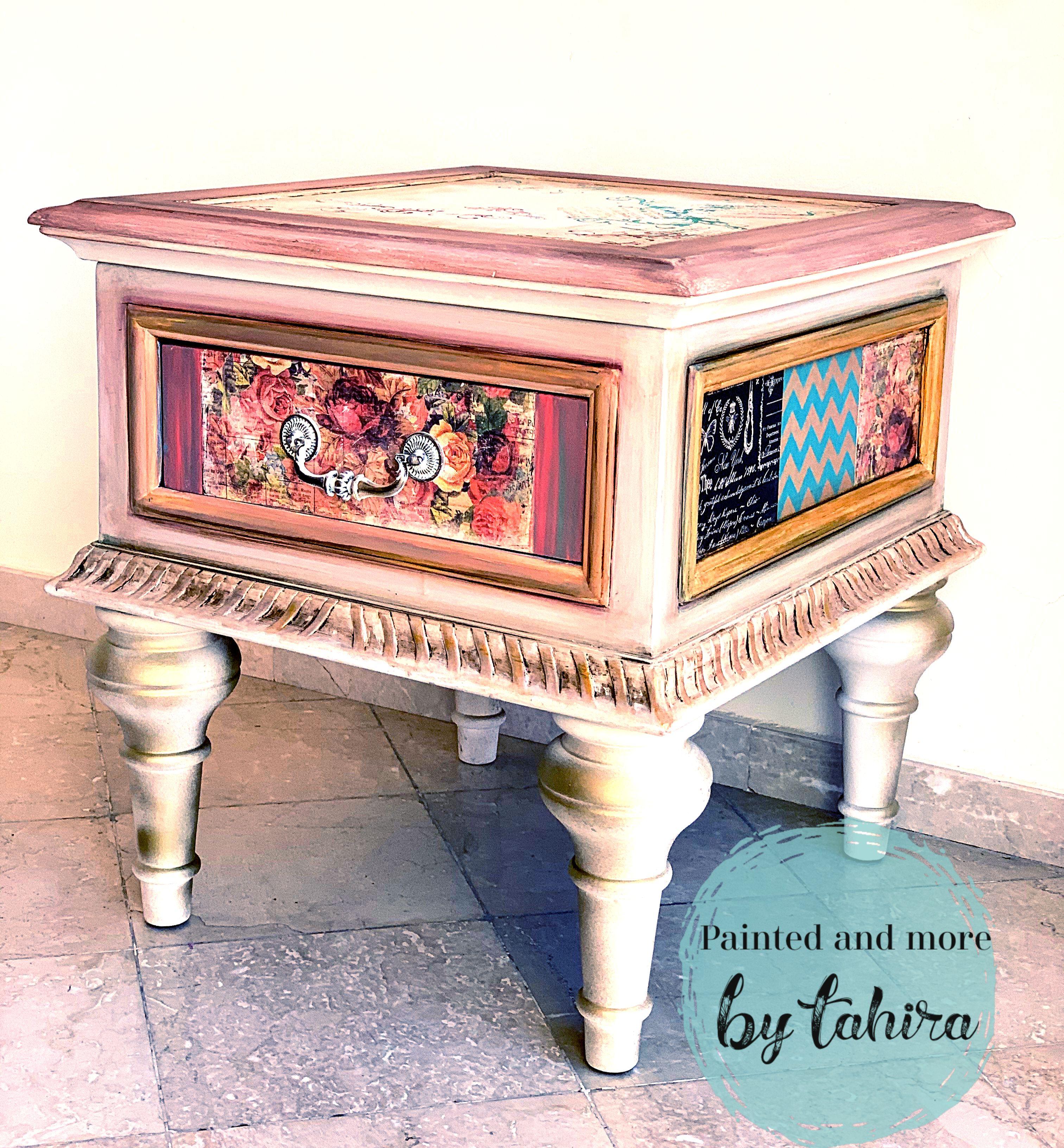 Handpainted and decoupaged table  #paintedandmore #handpainted #tahiraansari #furnitureart #decoupage