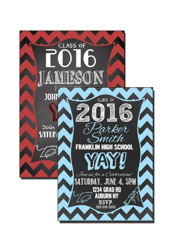 Modern Chevron Graduation Invitation Boys Grad Party Invite Blue Red Gr