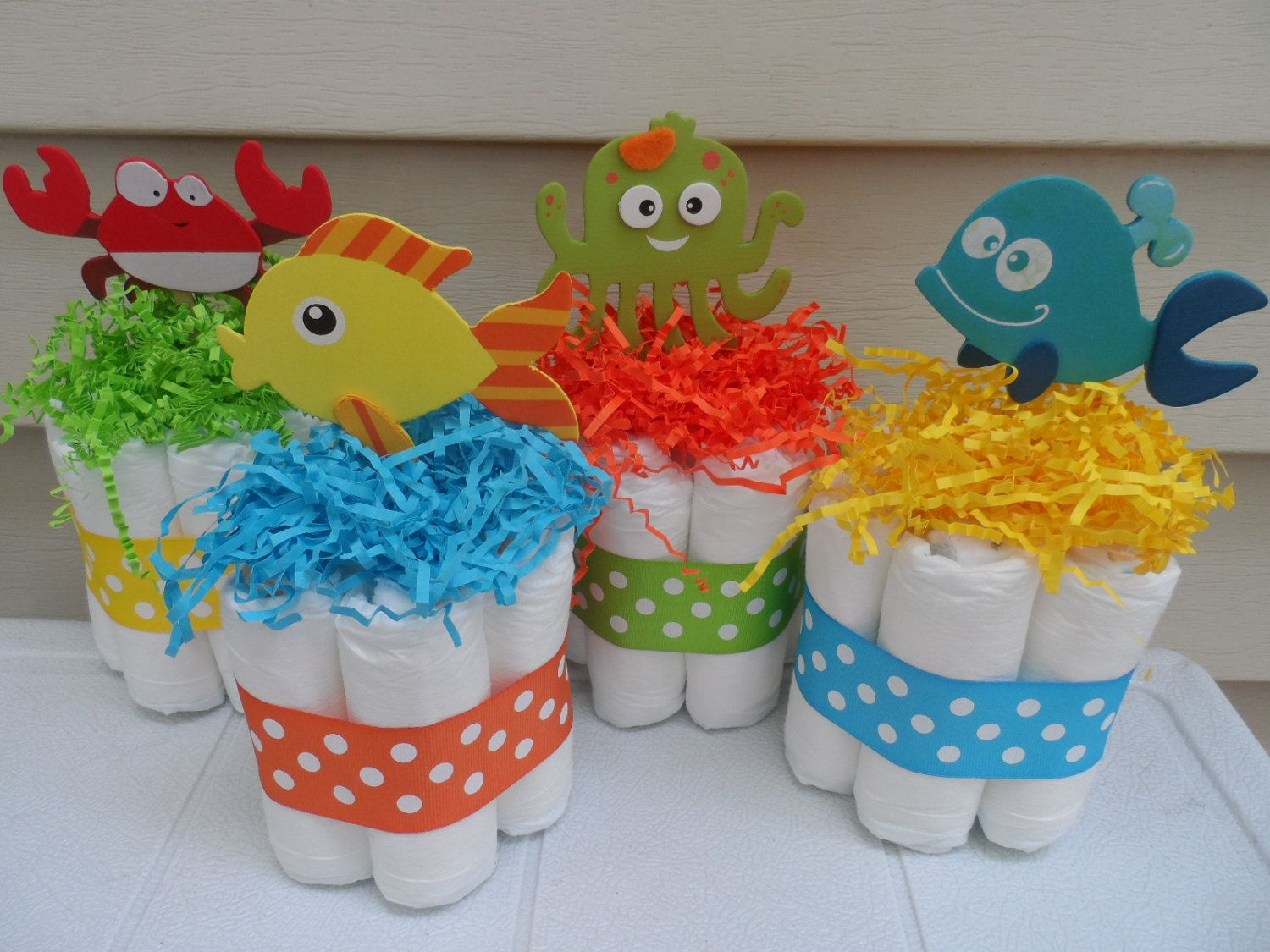 4 Under The Sea Theme Mini Diaper Cakes, Baby Shower Centerpiece