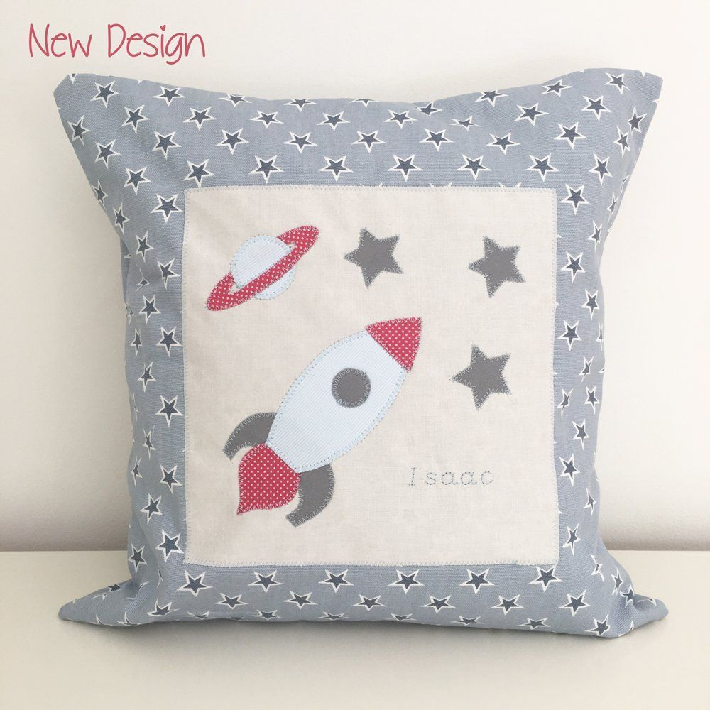 Personalised space rocket cushion personalised cushion with one of
