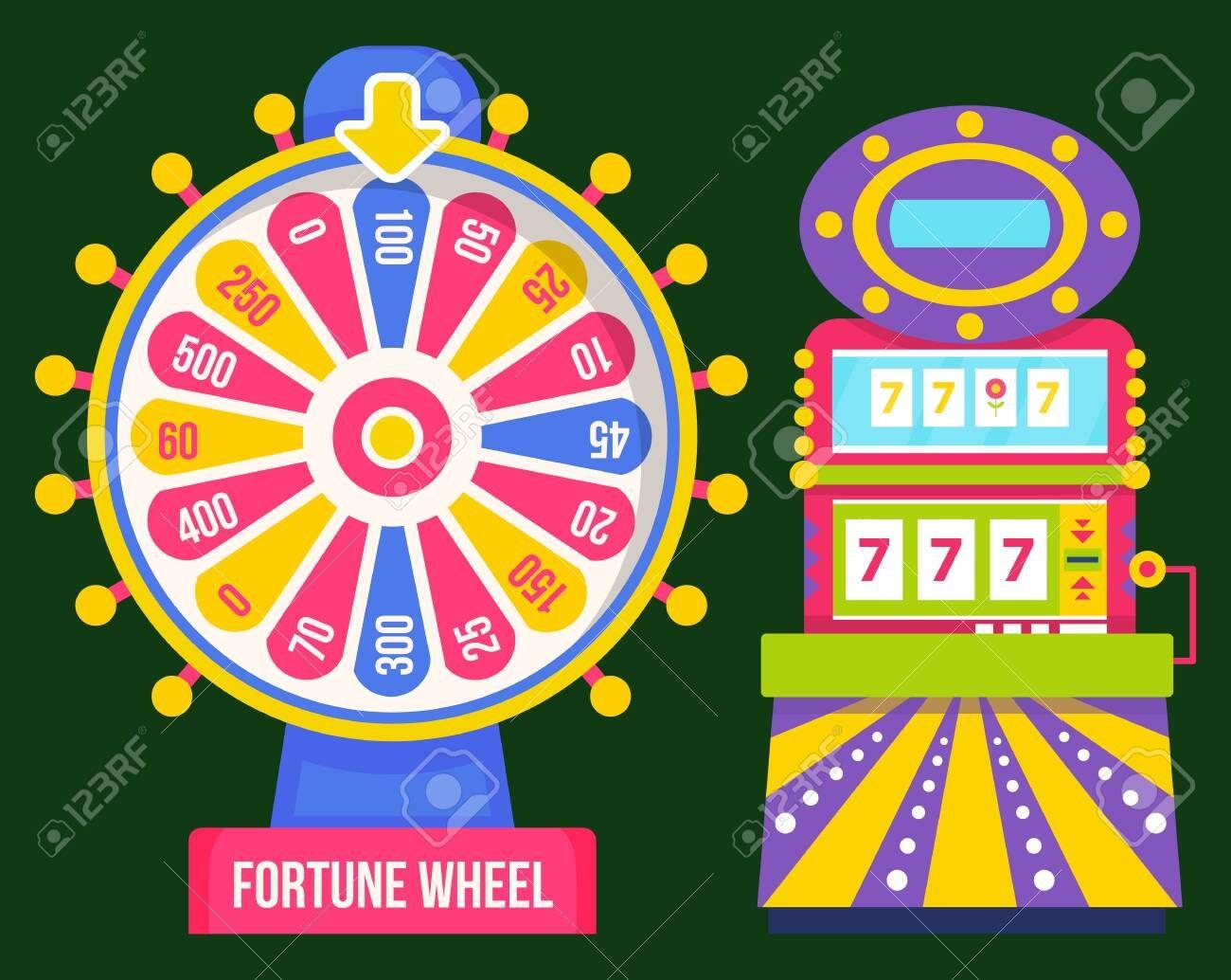 Fortune wheel and gambling machine, 777 jackpot. Vector