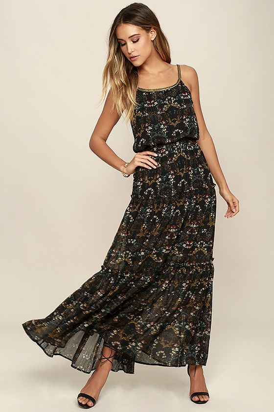 be1c14d204ed Channel your inner '70s goddess by slipping into the Far Out Black Floral Print  Maxi Dress! Floral print, and sparkly gold threading, accents woven poly ...