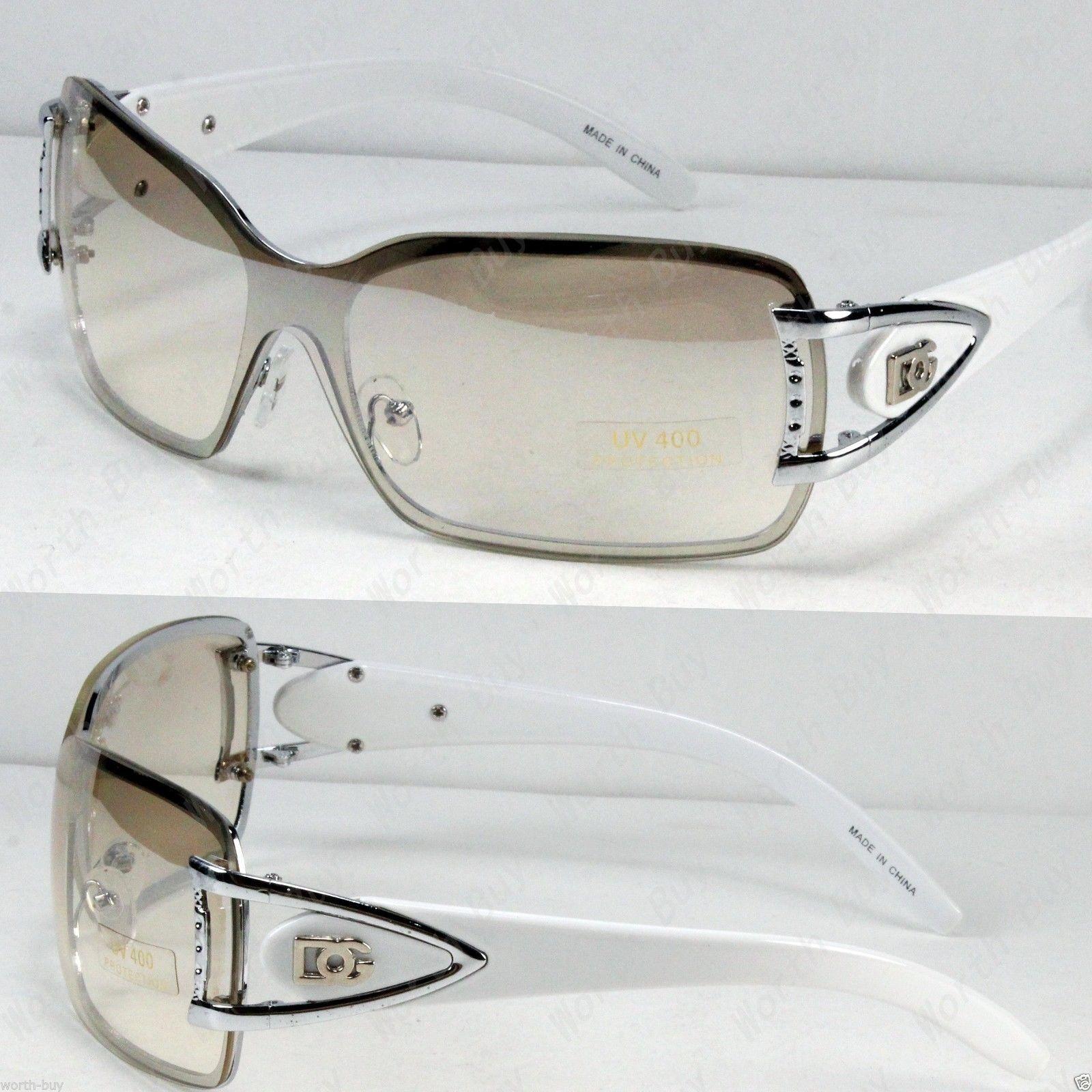 e9591cfc8ea New DG Womens Rimless Sunglasses Shades Fashion Designer White Shield One  Lens Price   4.45 Ends on   Related Posts DG Eyewear Shield Womens Designer  ...