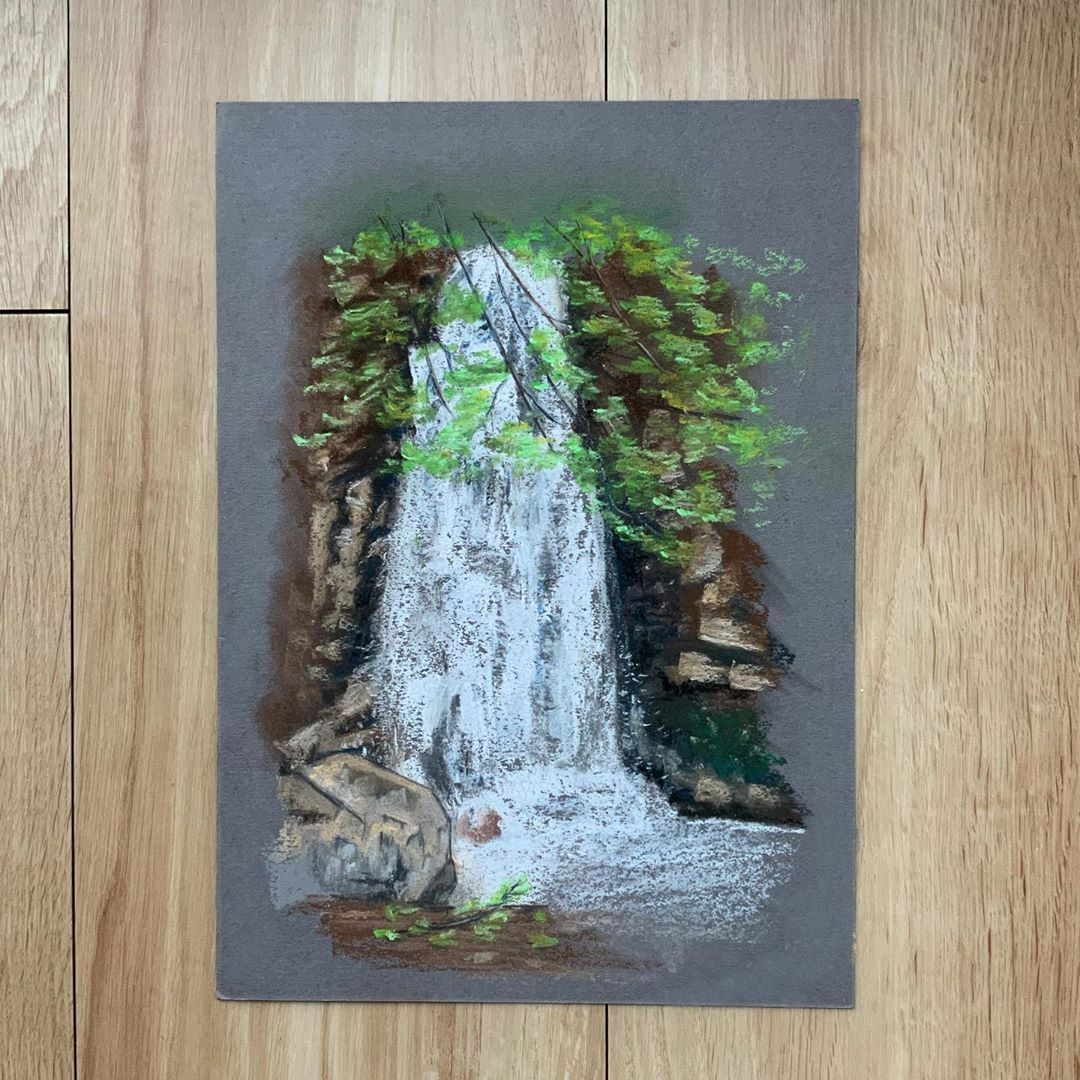 "Maria | Pastel Artist on Instagram: ""Let's see if someone would recognise this place 😊 . . . . . #waterfall #waterfallpainting #softpastels #pasteldrawing #art #instaartwork…"""