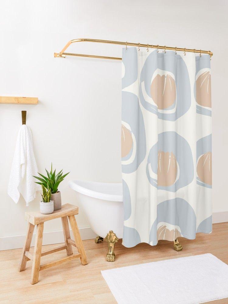 Dusty Blue Grey Terracotta Pattern Shower Curtain By Blertadk