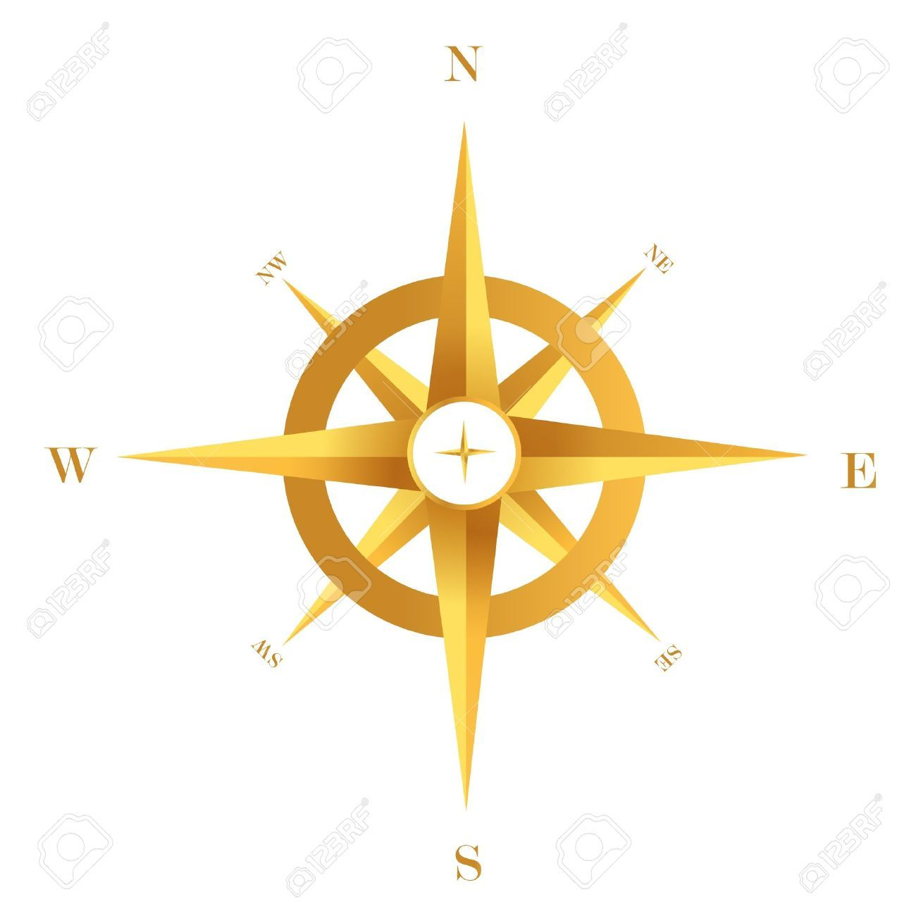 Gold Compass Royalty Free Cliparts, Vectors, And Stock ... | Compass ...
