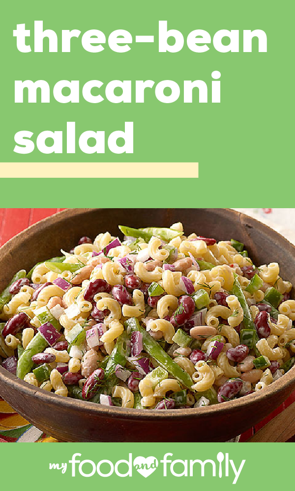 Three Bean Macaroni Salad Ready For The Top Three Things That Make This Recipe So Delicious 1 It S A Healthy Bean Salad Recipes Macaroni Salad Three Beans
