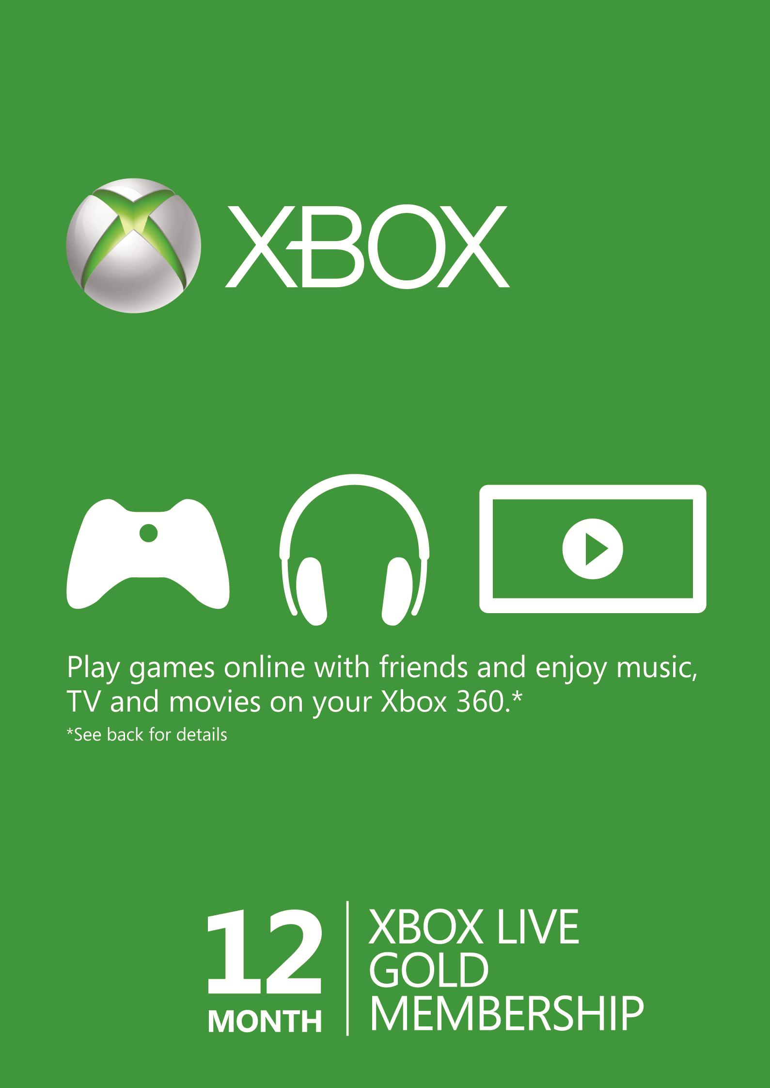 12 Month Xbox Live Gold Membership Xbox Live Xbox Xbox One